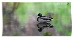 Beach Towel featuring the photograph Mallard In Reflecting Pool H58 by Mark Myhaver