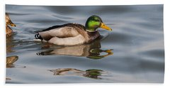 Mallards And Reflection Beach Towel