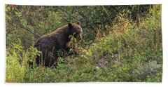 Beach Towel featuring the photograph Mama Bear Loves Summer Berries by Yeates Photography
