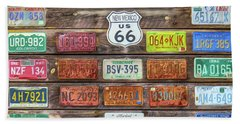 Man Cave License Plates Beach Towel by Marion Johnson