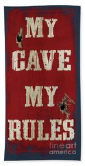 Man Cave Rules Beach Towel