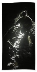 Beach Towel featuring the photograph Man In The Cave by Kelly Hazel
