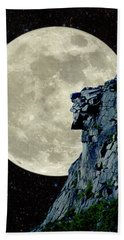 Man In The Moon Meets Old Man Of The Mountain Vertical Beach Sheet