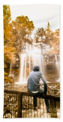 Beach Sheet featuring the photograph Man Looking At Waterfall by Jorgo Photography - Wall Art Gallery