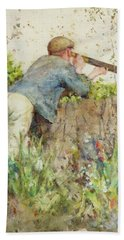 Man Looking Through A Telescope Beach Sheet by Henry Scott Tuke