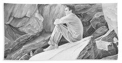 Beach Towel featuring the mixed media Man On The Rocks II by Elizabeth Lock