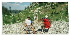 Man Posing With His Llama High Mountain Pass Beach Sheet by Jerry Voss