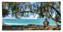Man Relaxing At The Beach Beach Towel