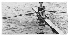 Man Rowing A Scull Beach Towel