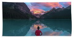Beach Towel featuring the photograph Man Sit On Rock Watching Lake Louise Morning Clouds With Reflect by William Lee