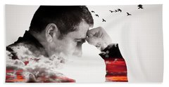 Man Thinking Double Exposure With Birds Beach Towel