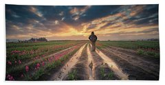 Beach Towel featuring the photograph Man Watching Sunrise In Tulip Field by William Lee