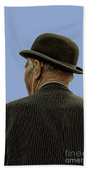 Man With A Bowler Hat Beach Towel