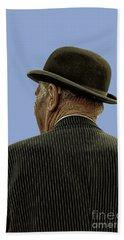 Man With A Bowler Hat Beach Sheet