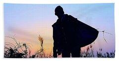 Man With Bag Beach Sheet