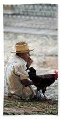 Man With Rooster - Trinidad - Cuba  Beach Towel