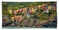Beach Towel featuring the painting Manarola by Jeff Kolker