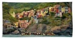 Beach Sheet featuring the painting Manarola by Jeff Kolker