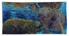 Manatee Motherhood Beach Sheet by David Joyner