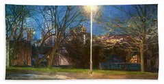 Manchester Street With Light And Trees Beach Towel