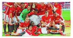 Manchester United Celebrates Beach Sheet by Don Kuing