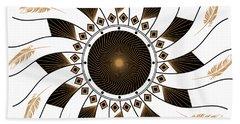 Beach Towel featuring the digital art Mandala Black And Gold by Linda Lees