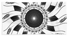 Beach Sheet featuring the digital art Mandala Black And White by Linda Lees