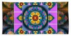 Mandala Heart Montage 4 Beach Towel by Wbk