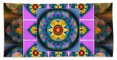 Mandala Heart Montage 4 Beach Sheet by Wbk
