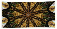 Mandala Of Autumn Trees. Beach Sheet