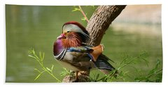 Mandarin Duck On Tree Beach Towel