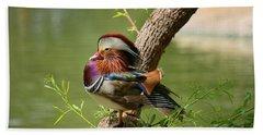 Mandarin Duck On Tree Beach Sheet