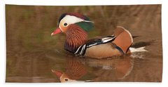 Mandarin Duck Reflection Beach Sheet by Alan Lenk