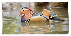 Mandarin Duck Swimming Beach Sheet
