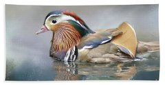 Mandarin Duck Swimming Beach Towel