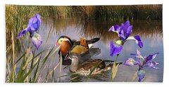 Mandarin Ducks And Wild Iris Beach Sheet