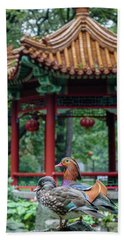 Mandarin Ducks At Pavilion Beach Towel