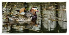 Mandarin Ducks The Couple Beach Towel by Torbjorn Swenelius