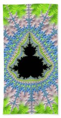 Beach Sheet featuring the digital art Mandelbrot Fractal Greenery Rose Quartz Serenity by Matthias Hauser