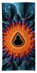 Beach Sheet featuring the digital art Mandelbrot Fractal Orange And Dark Blue by Matthias Hauser