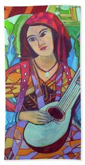 Beach Towel featuring the painting Mandolin-eight Strings by Denise Weaver Ross