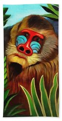 Mandrill In The Jungle Beach Towel
