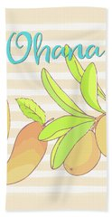 Mango Ohana Tropical Hawaiian Design Of Fruit And Family Beach Towel by Tina Lavoie