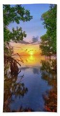 Mangrove Sunset From Jensen Beach Florida Beach Sheet by Justin Kelefas