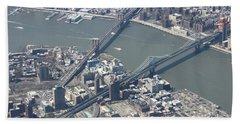 Manhattan And Brooklyn Bridge Beach Towel by Suhas Tavkar
