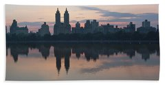 Manhattan At Night  Beach Towel by Yvonne Wright