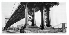 Beach Towel featuring the photograph Manhattan Bridge, Afternoon by Gary Heller