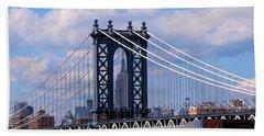 Manhattan Bridge Framing The Empire State Building Beach Towel
