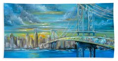 Beach Sheet featuring the painting Manhattan Bridge by Patrice Torrillo