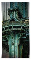 Beach Towel featuring the photograph Manhattan Bridge Tower by Chris Lord